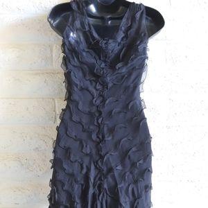 Max Studio Dresses - Max Studio | 100% silk rose ruffle black dress NWT